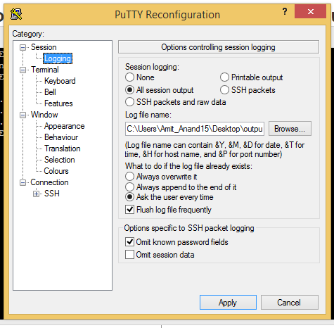Facing issue while trying to read data from putty command
