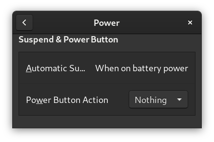 Screenshot showing part of Gnome3 Settings app being opened on a Power tab.  A Power Button Action is set to Nothing.