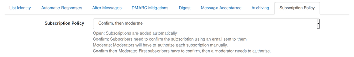 "Screenshot of ""Subscription Policy"" section from CommOps list"
