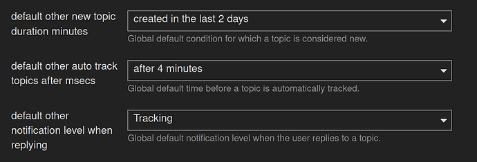 Screenshot from discussion.fedoraproject.org admin panel for default notification levels
