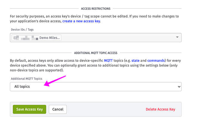 Modem access key and MQTT topic