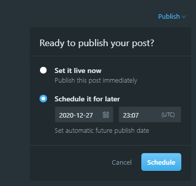 screenshot of the publish menu for a draft post. Shows that the post can be published immediately or scheduled at another time