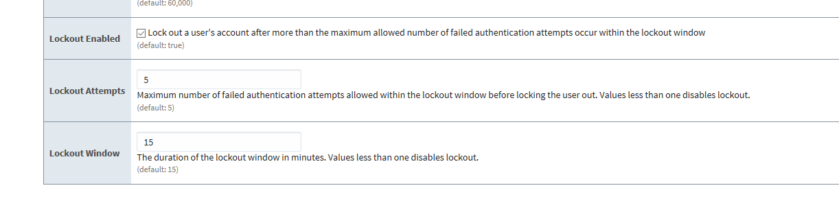 Account Lockout Settings
