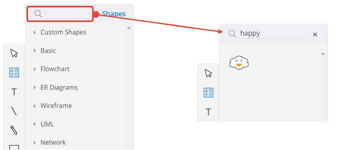 Search custom shapes