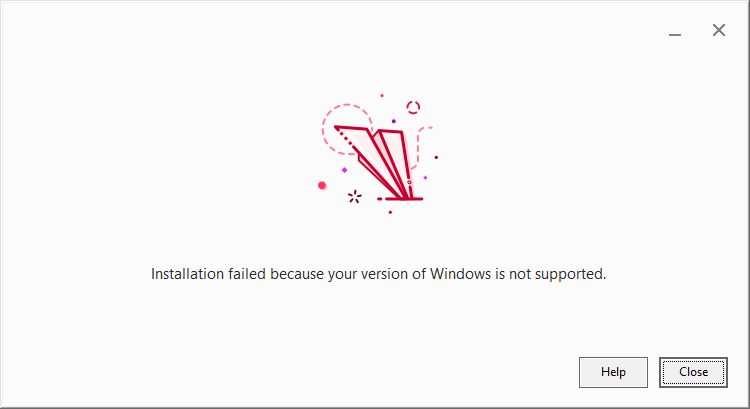 screenshot prezi installation error because windows version
