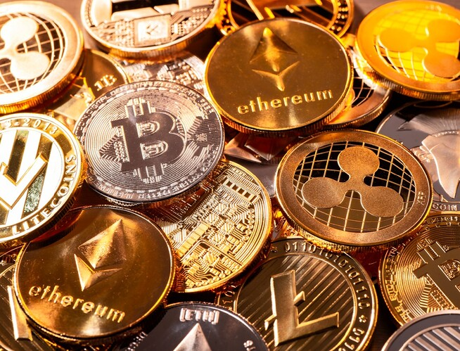 Cryptocurrency-metal-coins