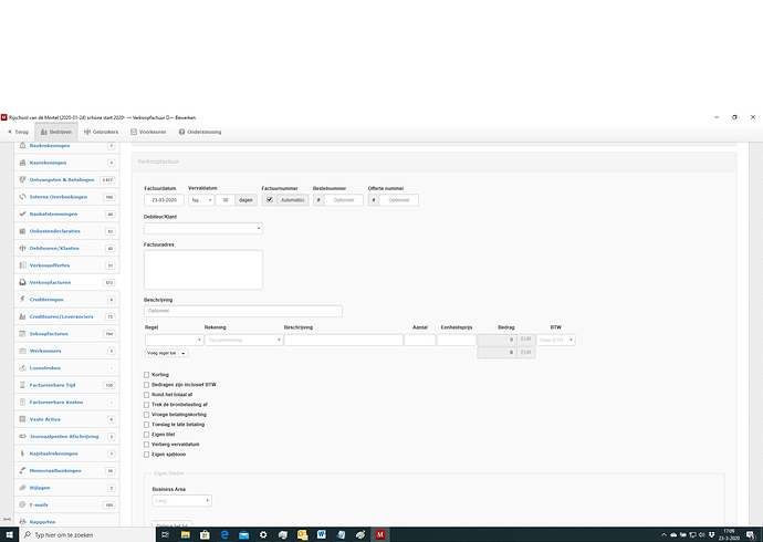empty invoice with business area and own template