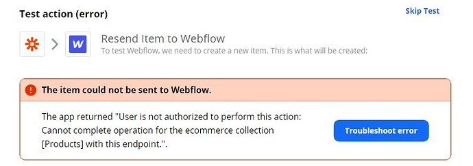 item could not be be sent to Webflow