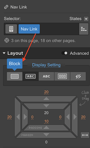 change from inline to block