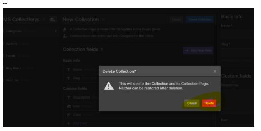 Existing catagories collectin deleted
