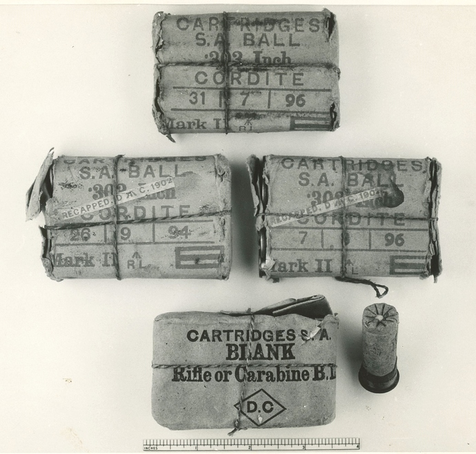Dominion Cartridge Factory recapped .303 Mk II packets & .577/450 blank packet, a.