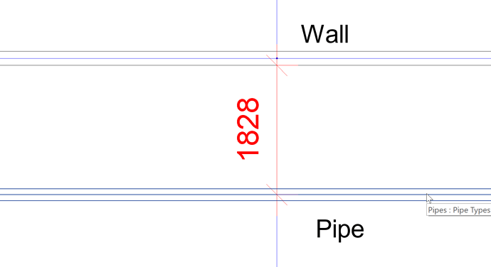 Dimension pipe and wall 2