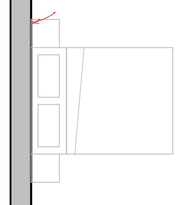 Furniture lines on top of wall section lines plan and