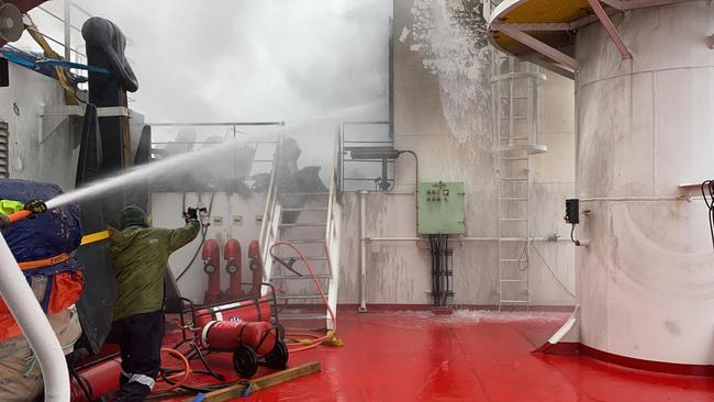 The fire in the port engine room on Monday sent flames through to the deck of the ship, . Picture: The Australian Antarctic Division