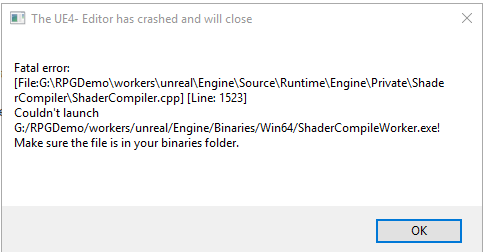 Unreal Engine 4 build error for RPGDemo (4 14 + 4 15