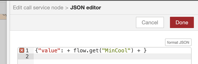 Is it possible to use a flow variable as a value in a JSON