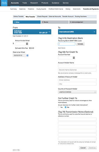 How To Usd Wire Transfer From Schwab Brokerage Account