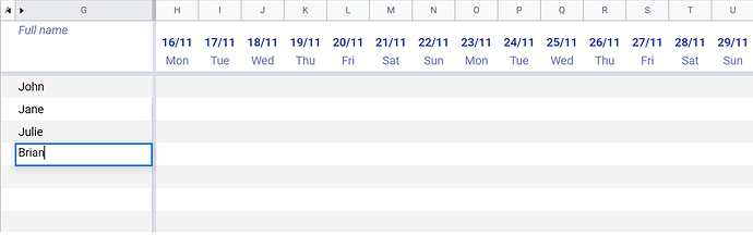 Google sheet date and name