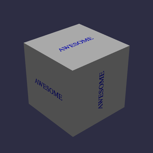 TEXT ON CUBE