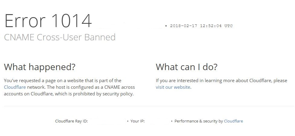 Error 1014 - CNAME Cross-User Banned - DNS & Network - Cloudflare