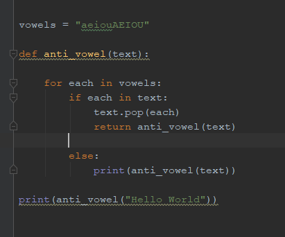 How to remove vowel out of the text argument - Python