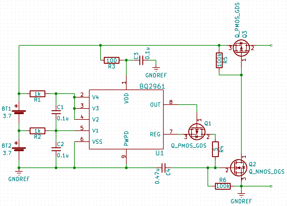 Schematic of BQ296xxx monitoring two cells in series for overvoltage and undervoltage faults. A fault condition closes a high-side switch.