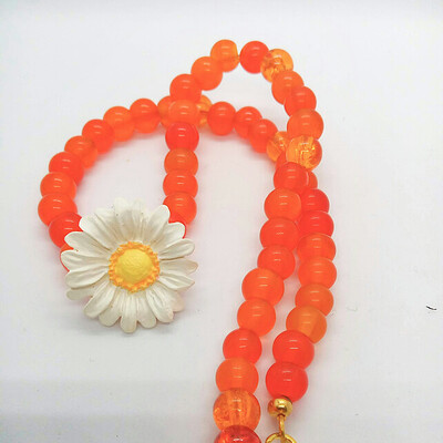 White Daisy and Orange Glass Beaded Necklace, Floral Jewellery, Mothers Day Gift
