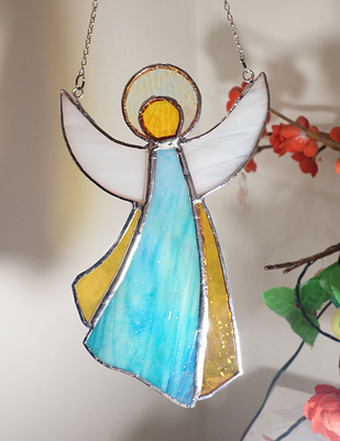 Guardian Angel Stained Glass Suncatcher