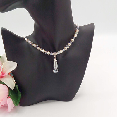 Champagne Pearl Clear Crystal and Chain Necklace With Grey Pearl Pendant 6
