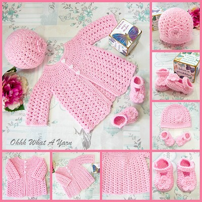 pink lace coat hat and shoes collage