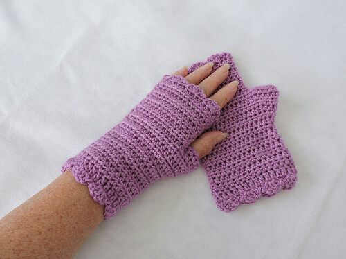 Fingerless Mittens Crocheted in Acrylic Yarn Orchid Pink