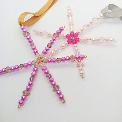 2 Glass Pearl and Crystal Beaded Snowflake Christmas Tree Decorations