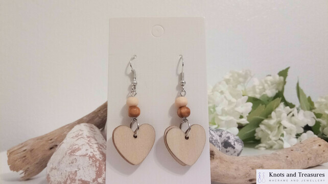 7429126-Silver-and-Wood-Heart-Dangle-Earrings-0