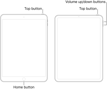 Illustrations of two types of iPad models with their screens facing up. The leftmost illustration shows a model with a Home button on the bottom of the device and a top button on the top-right edge of the device. The rightmost illustration shows a model without a Home button. On this device, volume up and volume down buttons are shown on the right edge of the device near the top, and a top button is shown on the top-right edge of the device.
