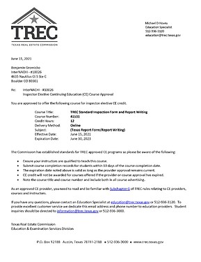 TX Inspection and Report Writing 2023