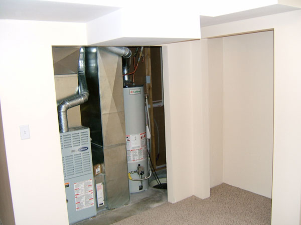 Furnace And Water Heater In A Bedroom Closet Interior