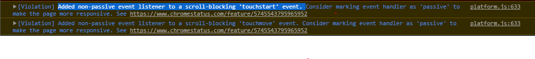 Violation] Added non-passive event listener to a scroll
