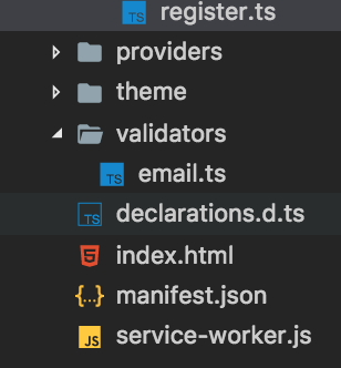 The app looking for a  js file but it's a  ts - ionic-v3