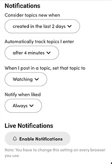 Preferences Notifications
