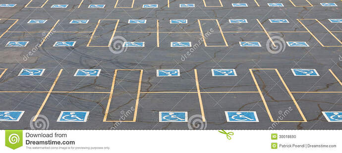 Image result for lots of empty parking spaces for disabled image