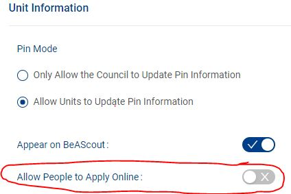 Unit Pin - Allow People to Apply Online
