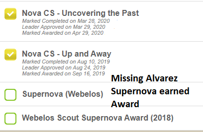 Scoutbook Error - Alvarez Supernova disappeared from Awards list after earning