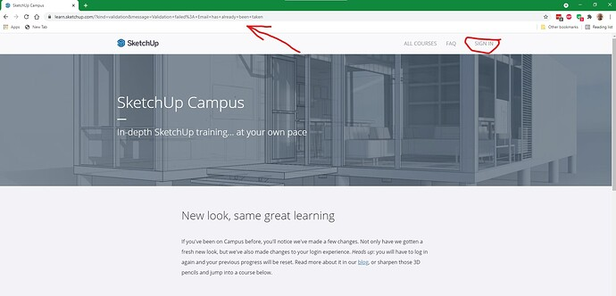 Sketchup Campus home page after