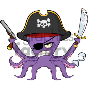 1552470-Royalty-Free-RF-Clipart-Illustration-Angry-Pirate-Octopus-Cartoon-Mascot-Character-With-A-Sword-Gun-And-Hook-Vector-Illustration-Isolated-On-White-Background