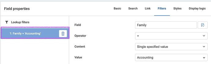 Screenshot: What a lookup filter looks like in the Composer