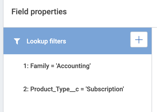 Screenshot: 2 lookup filters that will be applied together