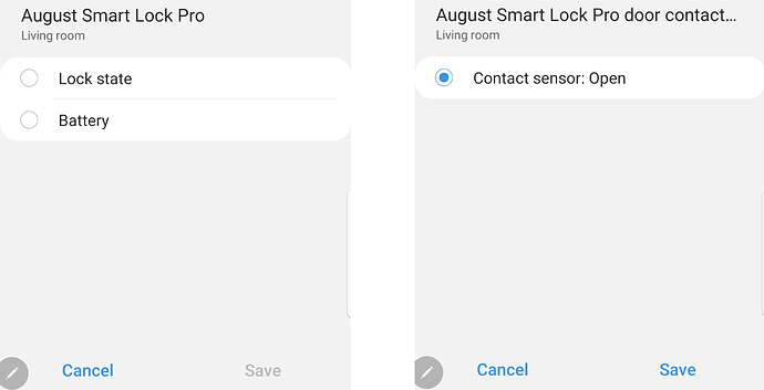 Automation in new app using Lock vs Child contact device
