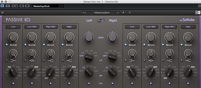 Lowered the gain of the passive eq to -6db