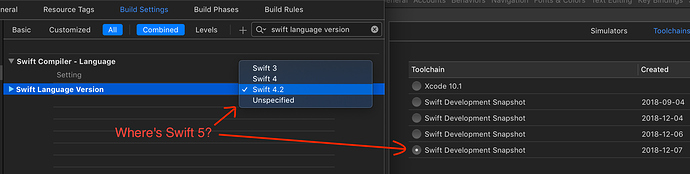 How to set Swift version 5 (for recent dev snapshots) in