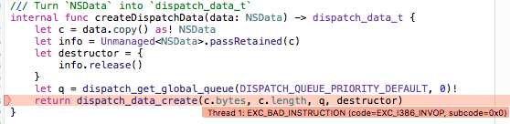dispatch_data_create() crashes with EXC_BAD_INSTRUCTION